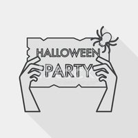 Halloween party sign flat icon with long shadow, line icon