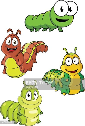 Cute Colorful Cartoon Caterpillars Characters Clipart Images