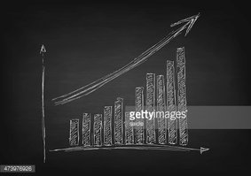 Growing graph hand drawing with arrow on black chalkboard
