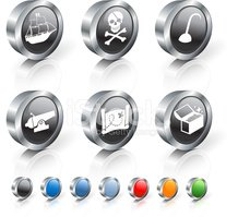 pirates 3D royalty free vector icon set