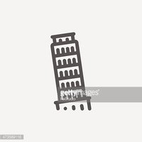 The Leaning Tower Pisa thin line icon