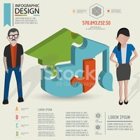 Puzzle info graphic design and character,clean vector