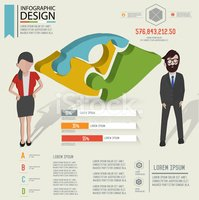 Eye puzzle info graphic design and character,clean vector