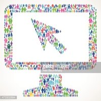Desktop with Cursor on vector family pattern Background