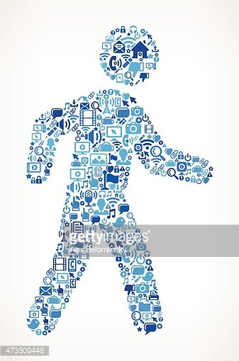 Stick Figure Walking on vector technology pattern Background