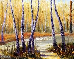 Birch trees in sunny forest. knife artwork. Impressionism. Art.