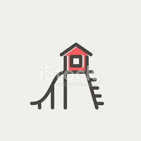 Playhouse with slide thin line icon