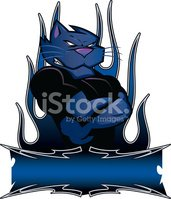 Panther Mascot with Tribal Art and Banner