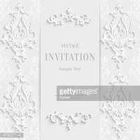 Vector White Christmas Vintage Invitation Card with 3d Floral Pattern