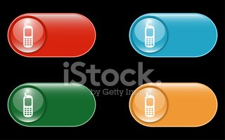 Glossy Mobile Sign Icon Buttons