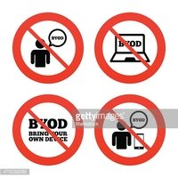 BYOD signs. Human with notebook and smartphone
