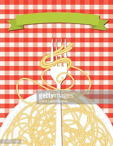 Spaghetti Dinner with Fork and Noodles on Red Checkered Tablecloth