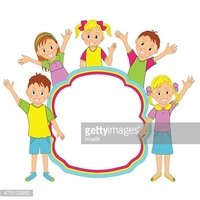 Children frame. kids, boys and girls smiling and waving