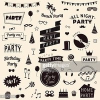 Set of party icons Vector signs and symbols templates