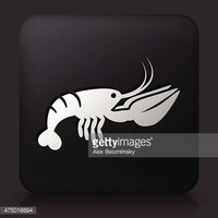 Black Square Button with Lobster Icon