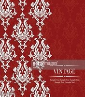 Vector Red Vintage Invitation Card with Floral Damask Pattern