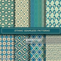 Set of blue white abstract ethnic geometric seamless pattern.