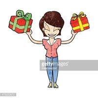 cartoon woman carrying gifts