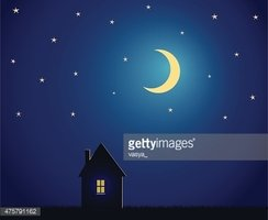House and night sky with stars and moon vector illustration