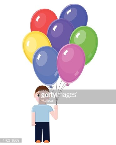 Boy with Colorful balloons