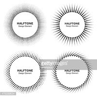Set of Black Abstract Halftone Circle Frame Logo, vector illustration