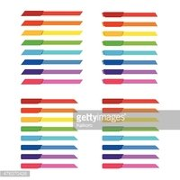 Set of colorful rainbow tag banner for header decoration