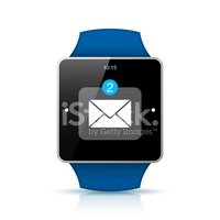Blue Smart watch with unread messages icon on the screen
