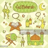 Eid Mubarak Cute Vector Set