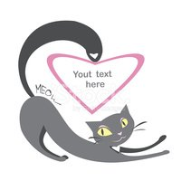 Background with black cats and hearts