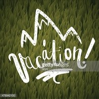 vacation calligraphy. green grass and mountains background. vector illustration