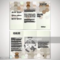 Vector set of tri-fold brochure design template on both
