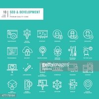Set of thin lines icons for SEO and website development