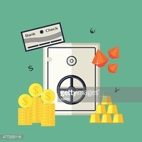 Vector illustration of the safe with jewels, gold bars, securities
