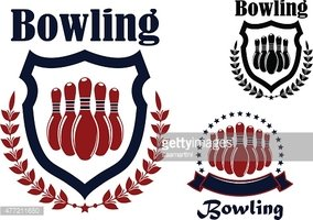 Bowling sports game graphic emblem