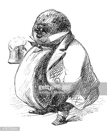 Fat Man With Beer Engraving Stock Vectors