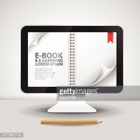 E-books and Computer with Pages and Books
