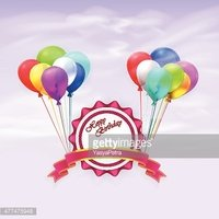 Happy Birthday. Illustration greeting card with balloons and ribbon
