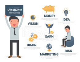 Infographic investment business man, vector illustration