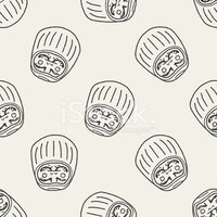 Japanese doll doodle seamless pattern background