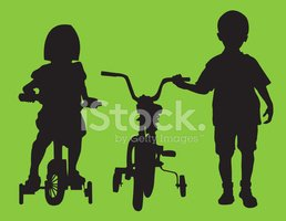 Wheel,Silhouette,Little Boy...