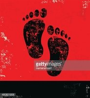 Foot on red background,grunge vector