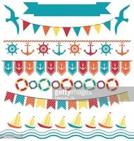 Set of multicolored flat sea buntings garlands flags isolated on