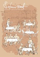 People at restaurant, outdoor cafe - Hand drawn vertical background