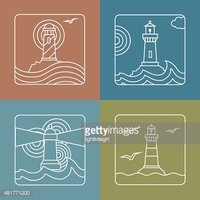 Vector lighthouse logo design templates   linear style abstract emblems and
