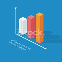 Infographics graph element. Isometric design chart. Statistics icon for data