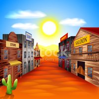 Wild West Town Vector Background Clipart Images
