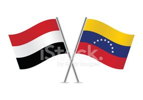 Venezuela and Yemen flags. Vector.