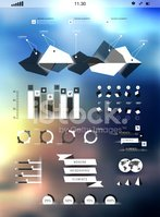 Set elements of infographics on blur background