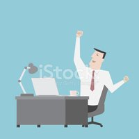 Businessman feel happy with work - Vector