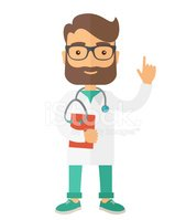 Young male doctor standing with stethoscope